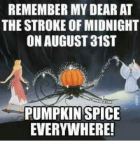Dank, Pumpkin, and 🤖: REMEMBER MY DEAR AT  THE STROKE OF MIDNIGHT  ON AUGUST 31ST  PUMPKIN SPICE  EVERYWHERE! #jussayin