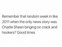 Sheening: Remember that random week in like  2011 when the only news story was  Charlie Sheen binging on crack and  hookers? Good times