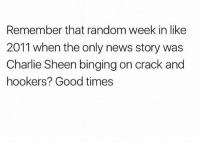 Charlie, Charlie Sheen, and Funny: Remember that random week in like  2011 when the only news story was  Charlie Sheen binging on crack and  hookers? Good times takemeback