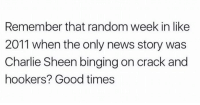 Charlie, Charlie Sheen, and News: Remember that random week in like  2011 when the only news story was  Charlie Sheen binging on crack and  hookers? Good times