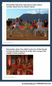 Friends, High School Musical, and Logic: Remember that time chad did an entire dance  number about how he doesn't dance  Source: elalmogen  Remember when Troy didn't want any of this friends  to know he liked sing so he broke into a song in the  middle of their practice?  you should probably go to TheMetaPicture.conm srsfunny:High School Musical Logic