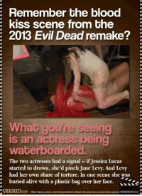 Kiss Scene: Remember the blood  kiss scene from the  2013 Evil Dead remake?  What you're seeing  is an actress being  waterboarded.  The two actresses had a signal essica Lucas  started to drown, she'd pinch Jane Levy. And Levy  had her own share of torture. In one scene she was  buried alive with a plastic bag over her face