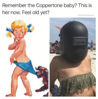 Memes, Stuff, and Old: Remember the Coppertone baby? This is  her now. Feel old yet?  @highfiveexpert @asleepinthemuseum takes the sun seriously, and I take her memes seriously. Follow my friend @asleepinthemuseum for the hottest stuff around 🌞