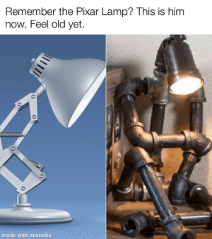 Pixar: Remember the Pixar Lamp? This is him  now. Feel old yet.  made with mematic