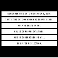 Memes, 🤖, and House of Representatives: REMEMBER THIS DATE: NOVEMBER 6, 2018.  THAT'S THE DATE ON WHICH 33 SENATE SEATS,  ALL 435 SEATS IN THE  HOUSE OF REPRESENTATIVES.  AND 14 GOVERNORSHIPS WILL  BE UP FOR RE-ELECTION. Voting doesn't just happen every 4 years!!!