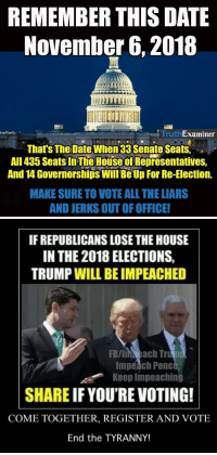 "Ali, Google, and Life: REMEMBER THIS DATE  November 6,2018  Truth  Examiner  That's The Date When33 Senate Seats,  AlI 435 Seats In The House of Representatives,  And 14 Governorships Will Be Up For Re-Election.  MAKE SURE TO VOTE ALL THE LIARS  AND JERKS OUT OF OFFICE!   IF REPUBLICANS LOSE THE HOUSE  IN THE 2018 ELECTIONS,  TRUMP WILL BE IMPEACHED  FB/lin each Tru  Impeach Penc  Keep Impeaching  SHARE IF YOU'RE VOTING!  COME TOGETHER, REGISTER AND VOTE  End the TYRANNY! dulcimergecko:  anauthorandherservicedog:  gertiecraign:  sethevans495: Flush them all THIS! This is the election that counts. Start educating yourself now on who will be campaigning to be your congresspeople/governor/etc.  Register to vote NOW. Don't wait. You can do it any time. This is the fight we need to win.  VOTE   VOTE   VOTE   Also…reminder to pay attention to all local elections and VOTE. These elected officials are the people most likely to directly impact your life in the short term.   This has to start now. Right now. Get your birth certificates. There may be a fee or long wait times. Make sure you get a certified copy. Make sure you have ID. Dig into your state's laws and the whole Real ID thing, because (and sorry I can't research this now, but pneumonia) I believe there are certain states whose driver's licenses don't qualify for Real ID. Make sure you're registered to vote. Google it. Follow the instructions for your state. Know where your local polling place is or find out if you can vote by mail. Vote in ALL your upcoming elections. Yes, that means the little ones for city council or dog catcher or whatever. Vote those racist, homophobic, bigots out at every level. They're like weeds. You can pull up every visible bit, but if you leave one tiny segment of root, they'll just come back. To quote Mira Grant, rise up while you can. Because the Republicans are way the hell worse than zombies.  Damn skippy!  My mantra all year has been ""Come on, 2018…"""