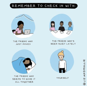 Check, mate: REMEMBER TO CHECK IN WITH:  THE FRIEND WHO'S  THE FRIEND WHO  BEEN QUIET LATELY  JUST MOVED  THE FRIEND WHO  YOUR SELF  SEEMS TO HAVE IT  ALL TOGETHER  @LIZ ANDMOLLIE Check, mate