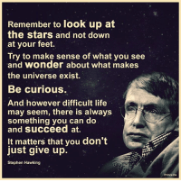 Memes, Prince, and Stephen: Remember to look up at  the stars and not down  at your feet  Try to make sense of what you see  and wonder about what makes  the universe exist.  Be curious.  And however difficult life  may seem, there is always  something you can do  and succeed at.  It matters that you don't  just give up  Stephen Hawking  Prince Ea