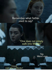 """9gag, Dank, and Funny: Remember what father  used to say?  """"One does not simply  walk into Mordor""""  Ye  Weird man  I know!  Like, what is Mordor? Father also mentioned a ring, what was that?  https://9gag.com/gag/ayXpNOX/sc/funny?ref=fbsc"""