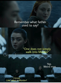 """Walk Into Mordor: Remember what father  used to say?  """"One does not simply  walk into Mordor""""  Weird ma  I know!  Like, what is Mordor?"""