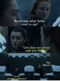 "My dad used to say the same thing: Remember what father  used to say?  One does not simply  walk into Mordor""  Ye  Weird ma  I know!  Like, what is Mordor? My dad used to say the same thing"