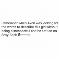 Akon, Funny, and Memes: Remember when Akon was looking for  the words to describe this girl without  being disrespectful and he settled on  @sarcasm_ only SarcasmOnly