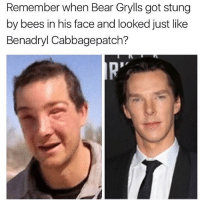 Benadryl, Kardashians, and Memes: Remember when Bear Grylls got stung  by bees in his face and looked just like  Benadryl Cabbagepatch? 😂😂😂lol - - - - - - - - text post textpost textposts relatable comedy humour funny kyliejenner kardashians hiphop follow4follow f4f kanyewest like4like l4l tumblr tumblrtextpost imweak lmao justinbieber relateable lol hoeposts memesdaily oktweet funnymemes hiphop bieber trump