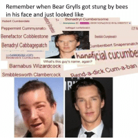 Benadryl, Dank, and Bear Grylls: Remember when Bear Grylls got stung by bees  in his face and just looked like  14 Benadryl Cumbersome  Hubert Cumber  dale  Anonymous (D 06 04/14(Wed)195249 No.549607217  1321 No  Peppermint Cummysnatc  buttfaggot cumfartsnatch  Benefactor Cobblestone  BeastidickCnmplesnach  Benadryl Cabbagepatch  Cumbentbert Snapersnatch  549608292 (OP)  Bindlestick kets  What's this guy's name, again?  Barnabus Wizardcock  Carm-a-ban  Smibblesworth Clambercock  Rend-a-dick