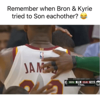 Basketball, Nba, and Sports: Remember when Bron & Kyrie  tried to Son eachother?  A M  OPENING NIGHT 2017  BOS  102  FINAL Bron had to get that last tap 😂 Via @NBAonTNT
