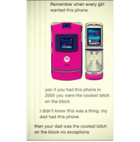 Bitch, Dad, and Meme: Remember when every girl  wanted this phone  yoo if you had this phone in  2005 you were the coolest bitch  on the block  I didn't know this was a thing. my  dad had this phone.  then your dad was the coolest bitch  on the block no exceptions FOLLOW @meme.ig for the best 18+ memes daily! 😂🚫🔥