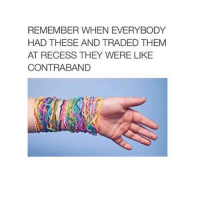 contraband is illegal substances snuck in prison I think: REMEMBER WHEN EVERYBODY  HAD THESE AND TRADED THEM  AT RECESS THEY WERE LIKE  CONTRABAND contraband is illegal substances snuck in prison I think