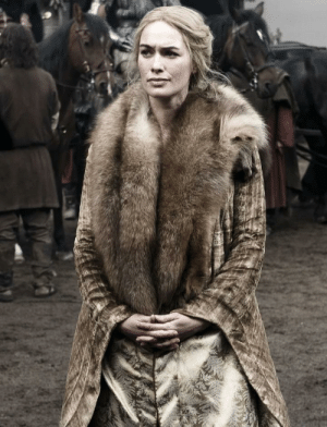 Clothes, Dirty, and Fancy: Remember when everyone used to look natural and didn't have big extravagant costumes and the world looked dirty and gritty and natural, season 1 Cersei. Fastforward a few seasons and everyone is clean and has fancy clothes for no reason, e.g Sansa in Season 8.