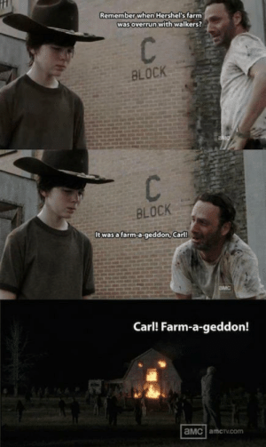 Dad, The Walking Dead, and Jokes: Remember when Hershel's farm  was overrun with walkers?  BLOCK  BLOCK  It wasafarm-a-geddon, Carl!  Carl! Farm-a-geddon!  aMC amcrv.comm The Walking Dead; 23 of the Funniest Rick & Carl Dad Jokes - Gallery ...