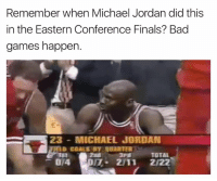 Bad, Finals, and Goals: Remember when Michael Jordan did this  in the Eastern Conference Finals? Bad  games happen.  23 MICHAEL JORDAN  D GOALS BT  OTA DIT. 2111 2122 🤔🤔🤔