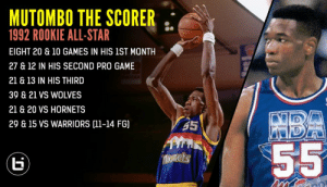 Remember when Mutombo was a scorer during the first half of his rookie season?   Deke also made the All-Star team as a rookie but didn't win Rookie Of The Year.   He also won Defensive Player Of The Year in 1995 but didn't make All-Defense 1st Team! https://t.co/h3r3Y3komz https://t.co/4C6gA3nRIj: Remember when Mutombo was a scorer during the first half of his rookie season?   Deke also made the All-Star team as a rookie but didn't win Rookie Of The Year.   He also won Defensive Player Of The Year in 1995 but didn't make All-Defense 1st Team! https://t.co/h3r3Y3komz https://t.co/4C6gA3nRIj
