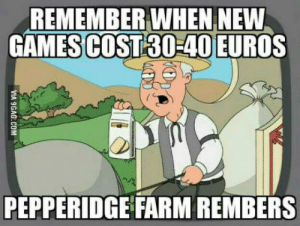 Euro, Games, and Good: REMEMBER WHEN NEW  GAMES COST30-40 EURO  PEPPERIDGE FARM REMBERS Those were the good ol days