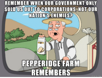 America, Enemies, and Government: REMEMBER  WHEN  OUR  GOVERNMENT  ONLY  SOLD US OUT TO CORPORATIONS NOT OUR  NATION'S ENEMIES?  PEPPERIDGE FARM  REMEMBERS  made on imqur Ah, America. Those were the days.
