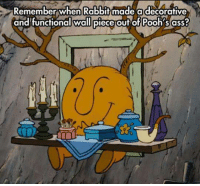 """Memes, Http, and Rabbit: Remember when Rabbit made a decorative  and tunctional wall piecejOut of Pooh sass <p>Never Forget! via /r/memes <a href=""""http://ift.tt/2GZHiSZ"""">http://ift.tt/2GZHiSZ</a></p>"""