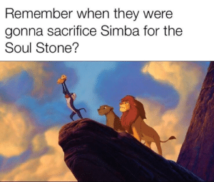 simba: Remember when they were  gonna sacrifice Simba for the  Soul Stone?