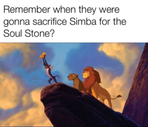 srsfunny:  Thank God they didn't: Remember when they were  gonna sacrifice Simba for the  Soul Stone? srsfunny:  Thank God they didn't