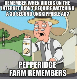 This is getting ridiculous: REMEMBER WHEN VIDEOS ON THE  INTERNET DIDNT REQUIRE WATCHING  A30 SECONDUNSKIPPABLE AD?  PEPPERIDGE  FARM REMEMBERS This is getting ridiculous