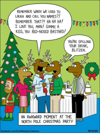love you man: REMEMBER WHEN WE USED To  LAUGH AND CALL YOU NAMES?!  REMEMBER THAT?! HA HA HA!  I LOVE YOU MAN! GIMME A  KISS, YOU RED-NOSED BASTARD!  YOU'RE SPILLING  YOUR DRINK  BLITZEN  AN AWKWARD MOMENT AT THE  NORTH POLE CHRISTMAS PARTY  METZGER  facebook.com/ScottMetzgerCartoons