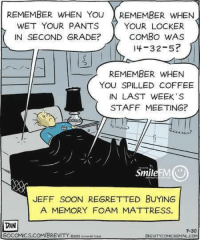 Memes, Regret, and Vans: REMEMBER WHEN YOU  REMEMBER WHEN  WET YOUR PANTS  YOUR LOCKER  COMBO WAS  IN SECOND GRADE?  l 4-3 2-5?  REMEMBER WHEN  YOU SPILLED COFFEE  IN LAST WEEK'S  STAFF MEETING?  Smile MU  JEFF SOON REGRETTED BUYING  A MEMORY FOAM MATTRESS.  VAN  7-30  GOCOMICS.COM/BREVITY ozotsusve.  BREVNTYCOMMCGGMAL COM A
