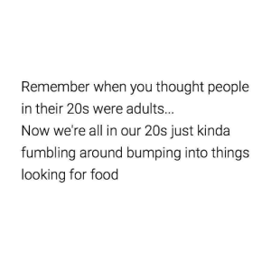 If you are a student Follow @studentlifeproblems: Remember when you thought people  in their 20s were adults...  Now we're all in our 20s just kinda  fumbling around bumping into things  looking for food If you are a student Follow @studentlifeproblems