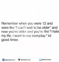 """Crying, Life, and Memes: Remember when you were 12 and  were like """"I can't wait to be older"""" and  now you're older and you're like """"I hate  my life, I want to cry everyday."""" lol  good times  SleepyPanda.me  @sleepy Panda. me  @Sleepy Pandame"""