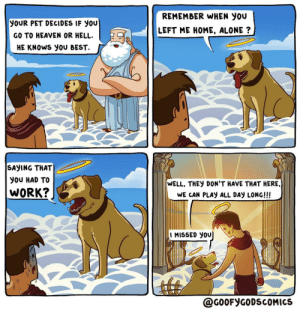 Dog spelled backwards is god [OC]: REMEMBER WHEN YOU  YOUR PET DECIDES IF YOU  LEFT ME HOME, ALONE ?  GO TO HEAVEN OR HELL.  HE KNOWS YOU BEST.  SAYING THAT  YOU HAD TO  WELL, THEY DON'T HAVE THAT HERE,  WORK?  WE CAN PLAY ALL DAY LONG!!!  I MISSED YOU  @GOOFYGODSCOMICS Dog spelled backwards is god [OC]