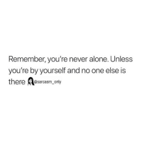 Being Alone, Funny, and Memes: Remember, you're never alone. Unless  you're by yourself and no one else is  there Aesarcasm only  ere @sarcasm only SarcasmOnly