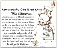 Heaven, Memes, and Focus: Remembering Our loved Ones  This Christmas  Christmas can be a difficult reminder of  the love we shared with our loved ones,  our soul mates, our life partners. Focus  on the love you shared and  the feelings  that made you smile, not the sadness  and pain of their loss. That love is the  most wonderful and powerful of all  emotions and is something that should  and create  be treasured. Share the love inside your  Dave Hedges  heart for those loved ones that will not  be with us this Christmas  DAVE swORDSOFWISDOM.coM Our loved <3 ones in Heaven this Christmas