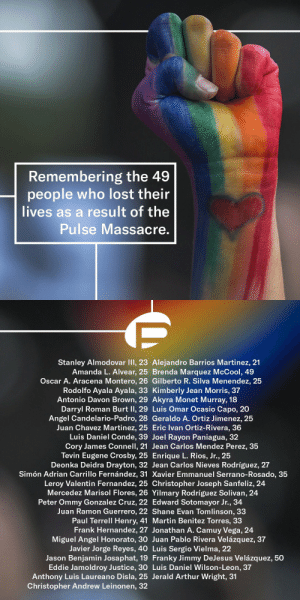 9/11, Arthur, and Club: Remembering the 49  people who lost their  lives as a result of the  Pulse Massacre.   Stanley Almodovar III, 23 Alejandro Barrios Martinez, 21  Amanda L. Alvear, 25 Brenda Marquez McCool, 49  Oscar A. Aracena Montero, 26 Gilberto R. Silva Menendez, 25  Rodolfo Ayala Ayala, 33 Kimberly Jean Morris, 37  Antonio Davon Bron, 29 Akyra Monet Murray, 18  Darryl Roman Burt lI, 29 Luis Omar Ocasio Capo, 20  Angel Candelario-Padro, 28 Geraldo A. Ortiz Jimenez, 25  Juan Chavez Martinez, 25 Eric Ivan Ortiz-Rivera, 36  Luis Daniel Conde, 39 Joel Rayon Paniagua, 32  Cory James Connell, 21 Jean Carlos Mendez Perez, 35  Tevin Eugene Crosby, 25 Enrique L. Rios, Jr., 25  Deonka Deidra Drayton, 32 Jean Carlos Nieves Rodríguez, 27  Simón Adrian Carrillo Fernández, 31 Xavier Emmanuel Serrano-Rosado, 35  Leroy Valentin Fernandez, 25 Christopher Joseph Sanfeliz, 24  Mercedez Marisol Flores, 26 Yilmary Rodríguez Solivan, 24  Peter Ommy Gonzalez Cruz, 22 Edward Sotomayor Jr., 34  Juan Ramon Guerrero, 22 Shane Evan Tomlinson, 33  Paul Terrell Henry, 41 Martin Benitez Torres, 33  Frank Hernandez, 27 Jonathan A. Camuy Vega, 24  Miguel Angel Honorato, 30 Juan Pablo Rivera Velázquez, 37  Javier Jorge Reyes, 40 Luis Sergio Vielma, 22  Jason Benjamin Josaphat, 19 Franky Jimmy DeJesus Velázquez, 50  Eddie Jamoldroy Justice, 30 Luis Daniel Wilson-Leon, 37  Anthony Luis Laureano Disla, 25 Jerald Arthur Wright, 31  Christopher Andrew Leinonen, 32 peachtipple:  gaytimesmag On June 12 2016, Pulse Nightclub in Orlando was the scene of one of the deadliest mass shootings by a single assailant in the history of the United States. At the time, it marked the deadliest terrorist attack on US soil since the tragedy of 9/11. Today we remember the 49 people who lost their lives that night. 🖤 Head to gaytimes.co.uk to read our interview with the team behind Pulse on what this anniversary means to them, and how the club has become an enduring reminder of how far we've left to go. 🏳️‍🌈
