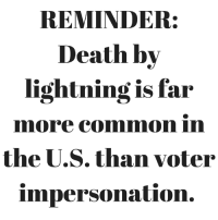 Memes, Death, and Lightning: REMINDER:  Death by  lightning is far  nmore Commmmon in  the U.S. than voter  impersonation. Important to keep in mind.