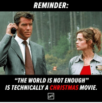 """If you get this, you have terrible taste in James Bond movies.: REMINDER:  """"THE WORLD ISNOTENOUGH""""  MOVIE  IS TECHNICALLY A  CHRISTMAS  CAFE If you get this, you have terrible taste in James Bond movies."""