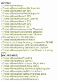 Confidence, Memes, and Run: reminder:  Trump will never run  >Trump will never release his financials  >Trump will never breach 15%  >Trump will never win New Hampshire  Trump will never breach 25%  >Trump will never win South Carolina  >Trump will never breach 35%  Trump will never breach 50%  Trump will never reach 1237  >Trump will never recover after Wisconsin  >Trump will never win unbound delegates  >Trump will never recover after Colorado  >Donald, hand over the delegates...  >Trump will never be the nominee  Trump is predicting the wrong outcome for BREXIT  >Trump will never pivot to the general election  Trump will never unify the majority of the GOP  Trump will never poll better than Clinton in a swing  state  YOU ARE HERE]  >Trump will never be President  Trump will never build the wall  >Trump will never block risky or illegal aliens  Trump will never deport illegal aliens  Trump will never bring back manufacturing jobs  >Trump will never rescind Common Core  Trump will never renegotiate our trade deals  Trump will never win a second term  >Trump will never abolish Obamacare If you don't feel confident right now, look at this. Also, remember brexit? Remember how it had NO chance of happening?