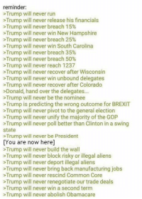 We WILL build a wall.   Sent by Nigel, a patriot.: reminder:  Trump will never run  Trump will never release his financials  Trump will never breach 15%  Trump will never win New Hampshire  >Trump will never breach 25%  >Trump will never win South Carolina  Trump will never breach 35%  >Trump will never breach 50%  Trump will never reach 1237  Trump will never recover after Wisconsin  will never win unbound Trump will never recover after Colorado  onald, hand over the delegates  >Trump will never be the nominee  Trump is predicting the wrong outcome for BREXIT  Trump will never pivot to the general election  >Trump will never unify the majority of the GOP  Trump will never poll better than Clinton in a swing  state  >Trump will never be President  You are now here]  Trump will never build the wall  >Trump will never block risky or illegal aliens  >Trump will never deport illegal aliens  Trump will never bring back manufacturing jobs  >Trump will never rescind Common Core  Trump will never renegotiate our trade deals  >Trump will never win a second term  Trump will never abolish Obamacare We WILL build a wall.   Sent by Nigel, a patriot.