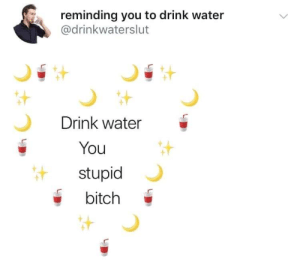 Bitch, Water, and You: reminding you to drink water  @drinkwaterslut  Drink water  You  stupid  bitch