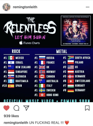 Africa, Friday, and Fucking: remingtonleith  ORIGINAL MOTION PICTURE SOUNDTRACK  THE  LETHIM BURN  iTunes Charts  < AMERICAN  SATAN  N THEATERS OCTOBER FRIDAY THE 13  METAL  #1-RUSSIA #1> E SOUTH AFRICA  ROCK  #1C  #1  #1 ?  #1  #1  #1  #10  MEXICO  ISRAEL  NEW ZEALAND  SINGAPORE  #2  #2-AUSTRIA  #3 +DENMARK  US  #1  #1  UK  NORWAY  SLOVAKIA #1 E CANADA  GUATEMALA #1举 AUSTRALIA #6 +SWITZERLAND  SPAIN  #1  #1+SWEDEN  #1 ☆  ITALY  #7-HUNGARY  #9-GERMANY  HONG KONG   939 likes  remingtonleith UN FUCKING REAL!!!