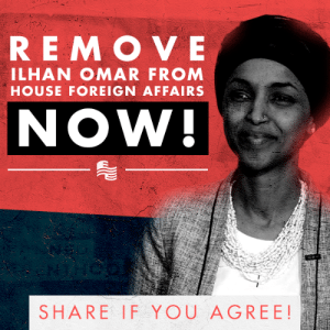 When Steve King said things that people deemed discriminatory, Republicans immediately stripped him of his committee assignments.  When Ilhan Omar makes repeated, vile, anti-Semitic slurs, Democrats just say she's naive, ask for an apology, and move on!  It's time to remove Ilhan Omar from the House Foreign Affairs Committee: https://p2a.co/9lNC4Uq: REMOVE  ILHAN OMAR FROM  HOUSE FOREIGN AFFAIRS  NOW!  SHARE IF YOU AGREE! When Steve King said things that people deemed discriminatory, Republicans immediately stripped him of his committee assignments.  When Ilhan Omar makes repeated, vile, anti-Semitic slurs, Democrats just say she's naive, ask for an apology, and move on!  It's time to remove Ilhan Omar from the House Foreign Affairs Committee: https://p2a.co/9lNC4Uq