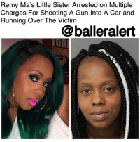 "Complex, Fire, and Friday: Remy Ma's Little Sister Arrested on Multiple  Charges For Shooting A Gun Into A Car and  Running Over The Victim  @balleralert  YOR Remy Ma's Little Sister Arrested on Multiple Charges For Shooting A Gun Into A Car and Running Over The Victim - blogged by @MsJennyb ⠀⠀⠀⠀⠀⠀⠀ ⠀⠀⠀⠀⠀⠀⠀ RemyMa's sister Remeesha Alesia Blount has been arrested on multiple gun charges for firing a gun into a car with three women, @bossipofficial reports. ⠀⠀⠀⠀⠀⠀⠀ ⠀⠀⠀⠀⠀⠀⠀ The incident occurred Friday in a parking lot in Raleigh, NC, when Blount opened fire on the vehicle, striking one of the women inside. According to reports, Blount then ran the woman over, as she tried to flee the scene. Three days later, Blount was arrested at an apartment complex in the same city. ⠀⠀⠀⠀⠀⠀⠀ ⠀⠀⠀⠀⠀⠀⠀ Upon arrest, Blount was charged with one count of assault with a deadly weapon with intent to kill, three counts of assault with a weapon with intent to kill, shooting an occupied vehicle and discharging a firearm in the city. She is currently being held without bail, as she also has pending charges from previous arrests, which include ""assault with a deadly weapon, shooting a gun inside city limits and assault by pointing a gun,"" reports state."