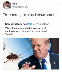"New York, News, and White House: Ren  @GamelikeEA  That's mean, the officials have names  New York Daily News @NYDailyNews  White House reportedly overrun with  cockroaches, mice and ants nydn.us/  2ivmGvp  to ""Typical libtard"" Actually, I prefer Libtúa, it's French."