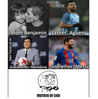 No Pressure, Kid 😜😂 [@teamtrollfootball] ⚠️Football Emoji's --> LINK IN OUR BIO!👌🏻: RENA  Meet Benjamin IFather Aguero  QATAR  Grandfather: Maradona  Godfather: Messi  MOTHER OF GOD No Pressure, Kid 😜😂 [@teamtrollfootball] ⚠️Football Emoji's --> LINK IN OUR BIO!👌🏻