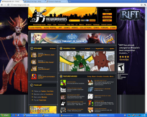 """Beef, Click, and Facebook: Renamon's Beginnings  Newgrounds.com Everyt... >  Editing Front Page Wikigr...  www.newgrounds.com  RIFT  ui pa6Bo1  Inbox  My Account  NEWGROUNDS  Voo.  Title  Search!  Log Out  EVERYTHING. BY EVERYONE.  About Newgrounds Blogs  Chat  Downloads  Help FAQ  Lit  Mature  Network  Rankings  Submit Content!  COLLECTIONS SERIES FORUMS STORE  FLASH PORTAL  AUDIO PORTAL  GAMES MOVIES  ART  Hift  CLICK TO  PLAY FOR  V15: TWLIGHT OF DARKNESS  FREE  """"RIFT has already  emerged as Blizzard's  best competition  in years...""""  SITE NEWS  SQUIRRELY FUN!  All News  Art by JordanD Code by NegativeONE Music by ajyablo  THE SQUIRREL GAME  TomFulo sez  ne ure Winners, Japan  GameSpy  TomFulp sez.  """"Animation, PAX, Charity""""  TEEN  T  TomFulp sez  """"Live PAX Stream!""""  Alcohol Reference  Blood  Mild Language  Violence  PBot sez:  FEATURED MOVIES!  Funny Music Parodies Dramatic More...  ton fe eck out Sunday's  BIGGER FISH TO FLY  feed  themsabres are thoarted b an  TO-DO LIST  TROLL PHYSICS COLLAB  WHEREABOUTS UNKNOWN-  Immerse yourself  physics.  real world  Follow us! Twitter, YouTube  Become a fan on Facebook  YUU RUAS T MY BEEF  ANIMATING BOXES AT 3AM  nter their  Earn some Medals  most painful enemy to date  Try out Flash Ads  CHUCK VS ALFA  Jet Swords, Nunchucks, Explosions,  Fire and a Bank Robbery. hat else  do you need?  all  need to know.. THE TRUTH!  THE  GaMes  SUSHI INFOGRAPHIC  THE FACEBOOK POKE WAR  Gentlemen's guide to Sushi, the  infographic.  FACTORY 2  """"T ristan, Quit poking mel!""""  Rufo cmaomeaora  1102  Mozilla Firefox  Renamon Story Not....  start  powerprower Chat  Friends  Newgrounds.com Www Newgrounds Com Games - Free Software and Shareware - backupsimple"""
